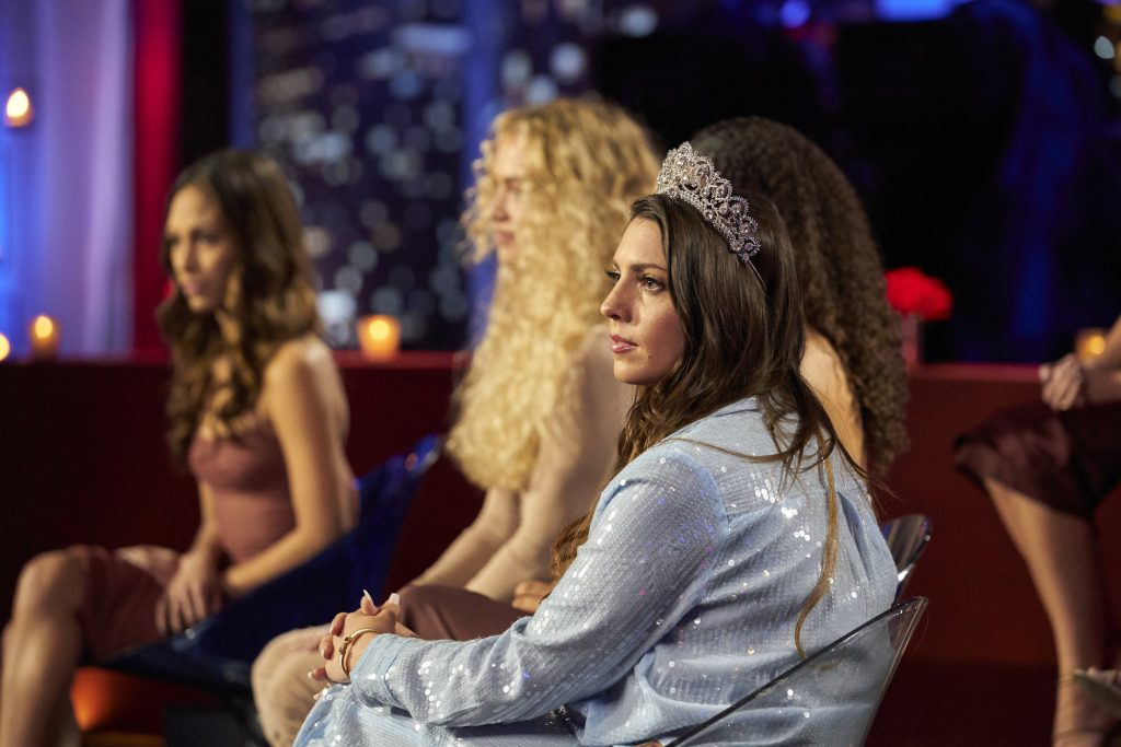 The women from Matt James' season of 'The Bachelor' sitting on the stage of the 'Women Tell All' special, one of whom could be the star of 'The Bachelorette'