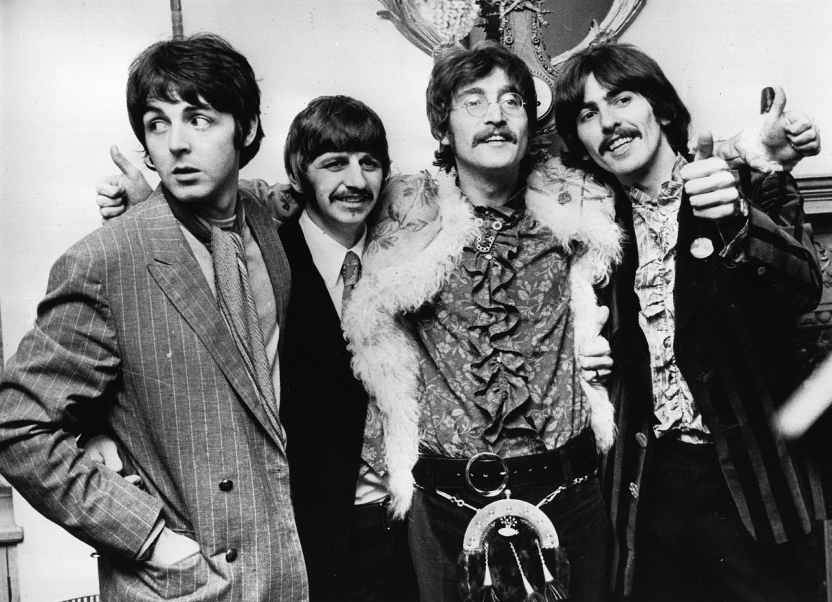 19th May 1967:  The Beatles celebrate the completion of their new album, 'Sgt Pepper's Lonely Hearts Club Band', at a press conference held at the west London home of their manager Brian Epstein.