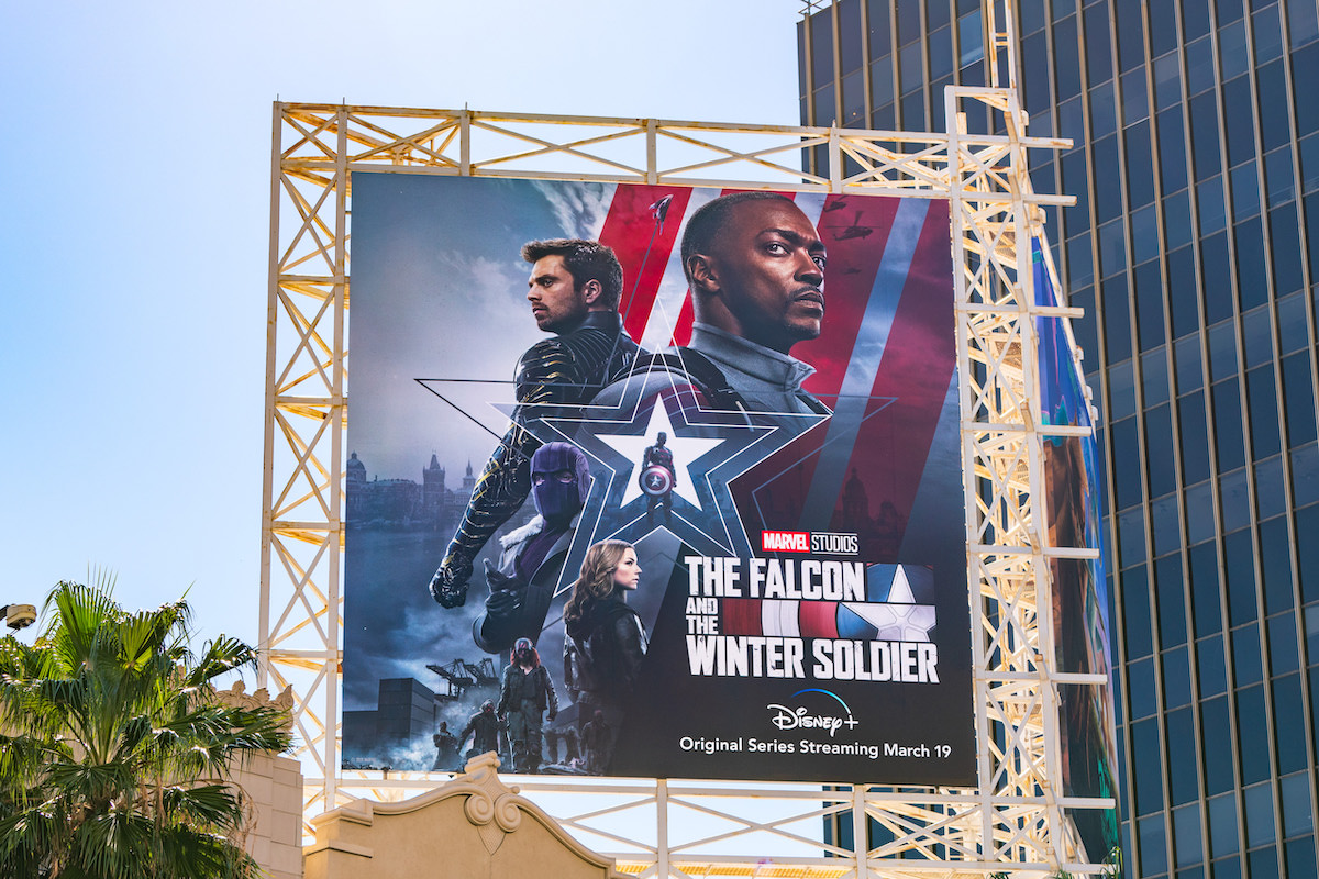 Billboard promoting the Marvel Disney+ series 'The Falcon and the Winter Soldier'