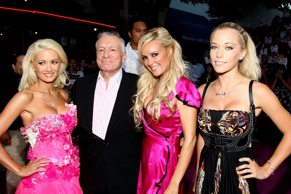 """Playmate Holly Madison, publisher Hugh Hefner, playmate Bridget Marquardt and playmate Kendra Wilkinson on the red carpet at Columbia Pictures' premiere of """"House Bunny"""" held at the Mann Village Theater on August 20, 2008 in Westwood, California"""