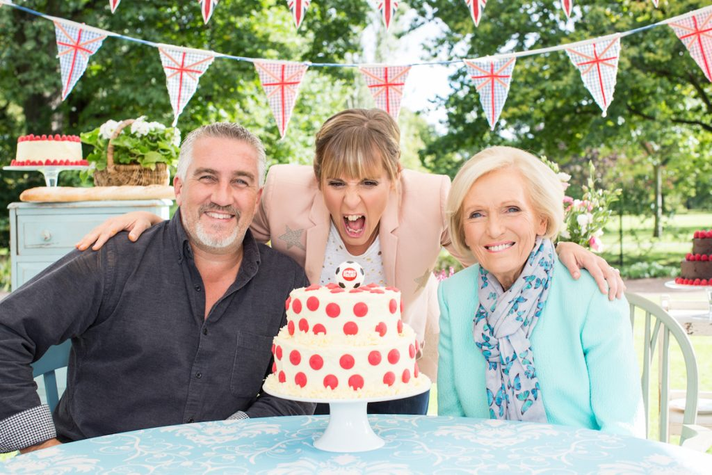 Judges Mary Berry and Paul Hollywood with Mel Giedroyc, take part in a special episode of The Great British Bake Off for Sport Relief 2016