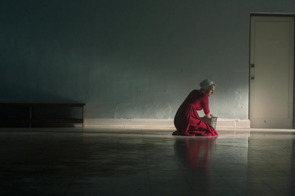 June Osborne alone on the floor in 'The Handmaid's Tale'