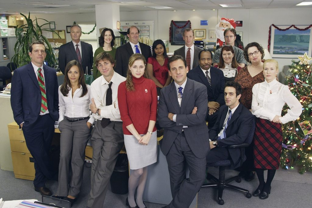 The Office cast poses for Benihana Christmas episode