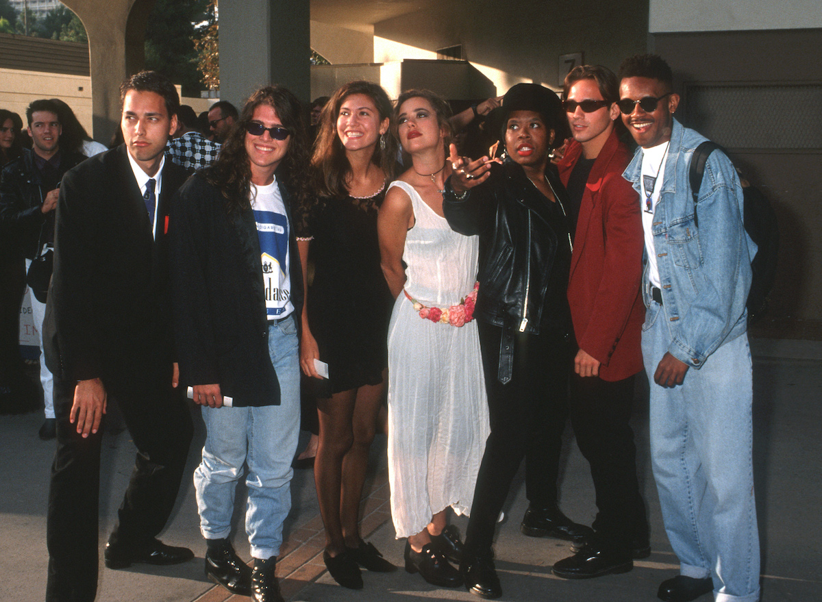 Norman Korpi, Andre Comeau, Julie Oliver, Rebecca Blasband, Heather B., Eric Nies and Kevin Powell of The Real World New York Cast attend the 1992 MTV Video Music Awards