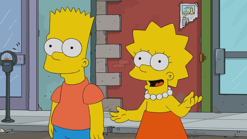 The Simpsons: Bart and Lisa on the street