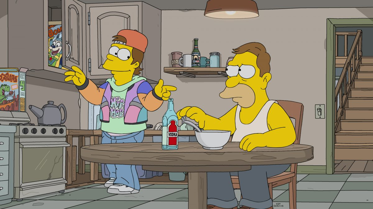 The Simpsons -Homer and Grandpa Simpson stuck in the '90s