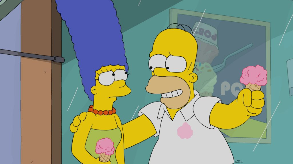 The Simpsons: Homer and Marge get ice cream