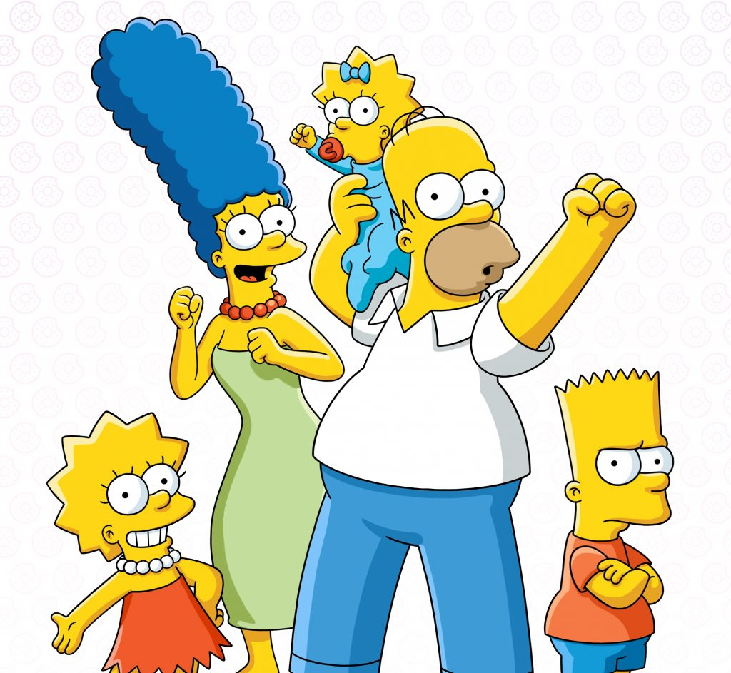 The Simpsons family all smiling except Bart