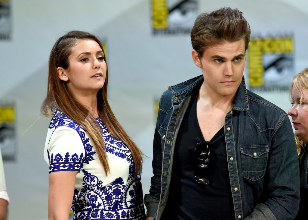 Nina Dobrev and Paul Wesley of 'The Vampire Diaries' post together on stage