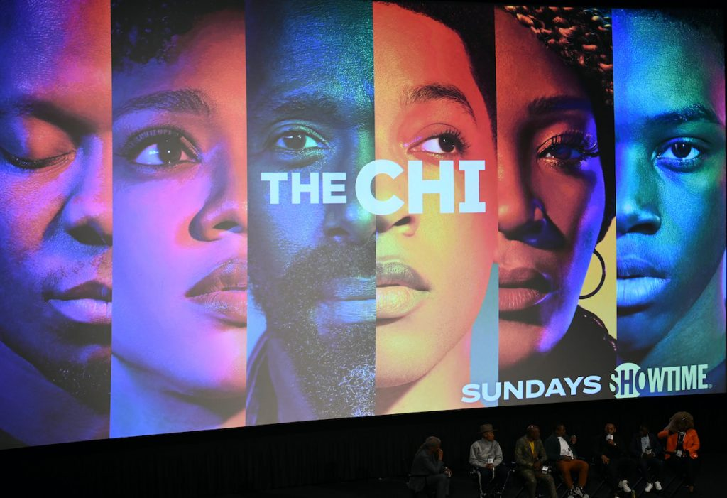 The cast and crew of 'The Chi' including Elvis Mitchell, Lena Waithe, Ntare Guma Mbaho Mwine, Jason Mitchell, Jacob Latimore, Alex R. Hibbert, and Yolonda Ross at an event in April 2019 in Hollywood, California