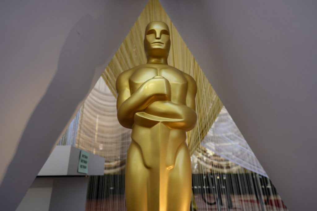 An Oscar statue on the red carpet of the 92nd Academy Awards