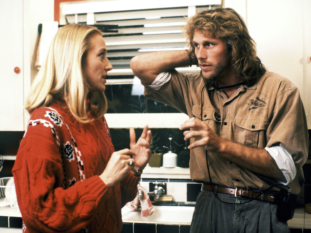 Patricia Wettig and  Peter Horton shoot a scene from thirtysomething