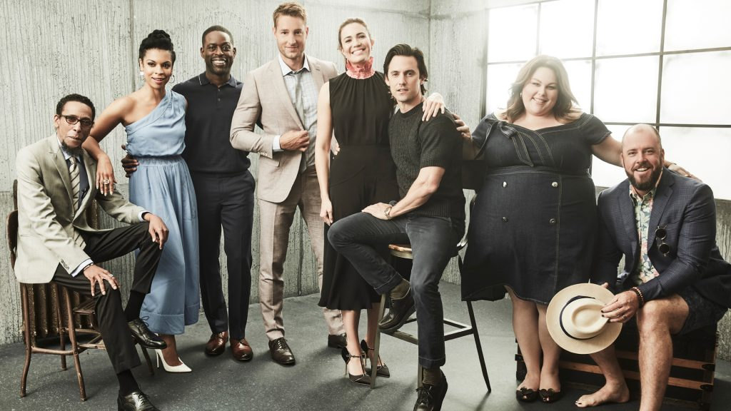 'This Is Us' cast members Ron Cephas Jones, Susan Kelechi Watson, Sterling K. Brown, Justin Hartley, Mandy Moore, Milo Ventimiglia, Chrissy Metz, and Chris Sullivan in 2017