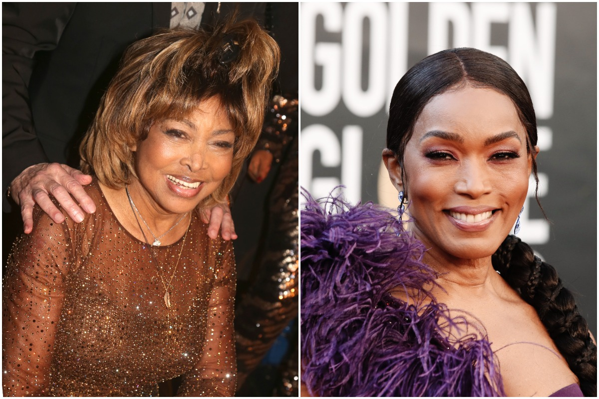 (L-R): Tina Turner smiling at a premiere and Angela Bassett posing at the Golden Globe Awards