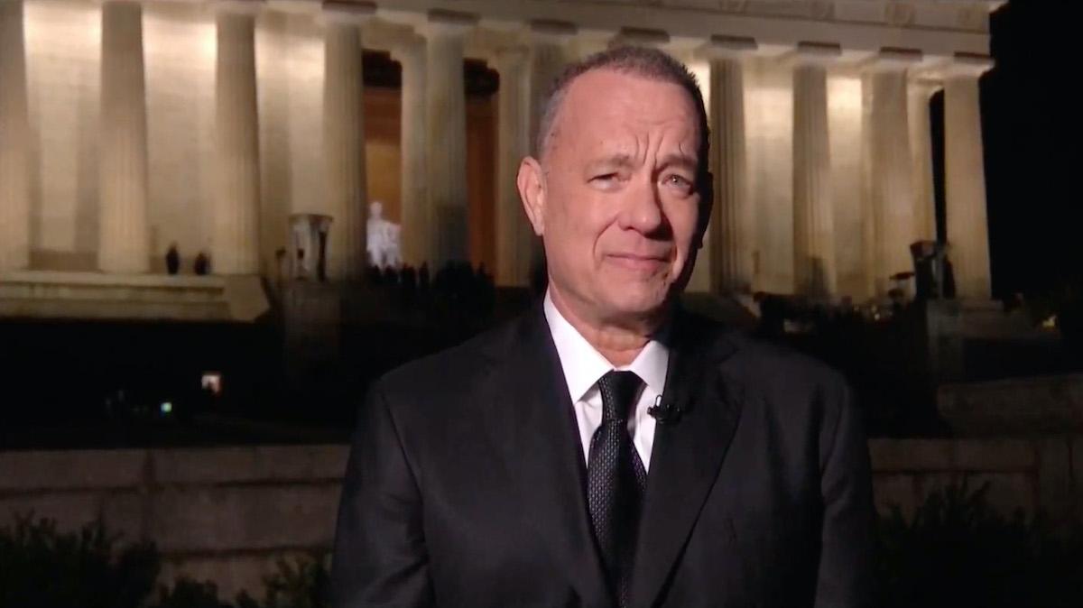 Tom Hanks speaks during the Celebrating America Primetime Special on January 20, 2021