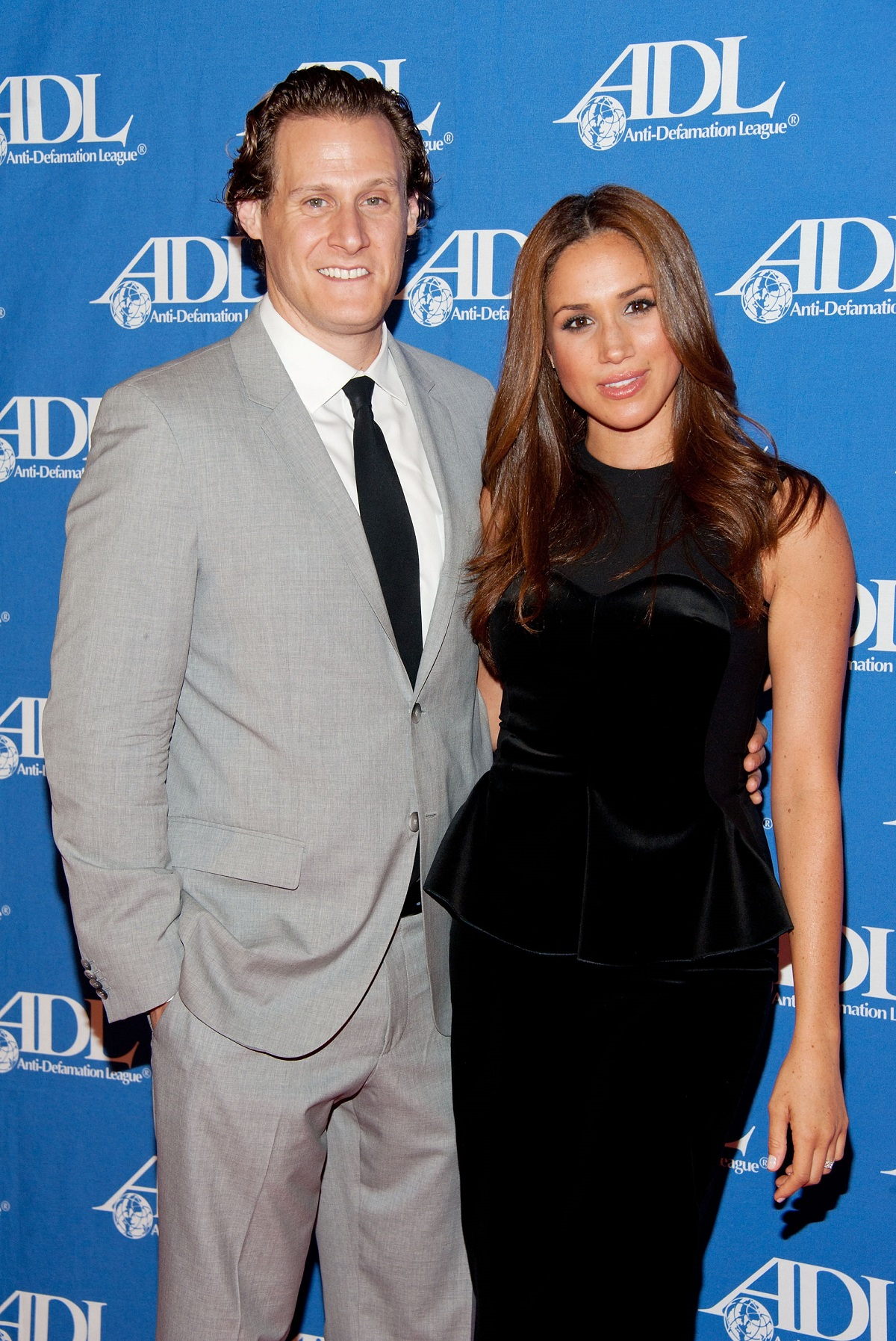 Meghan Markle and her husband Trevor Engelson on the red carpet at the Anti-Defamation League Entertainment Industry Awards Dinner at the Beverly Hilton on October 11, 2011 in Beverly Hills, California