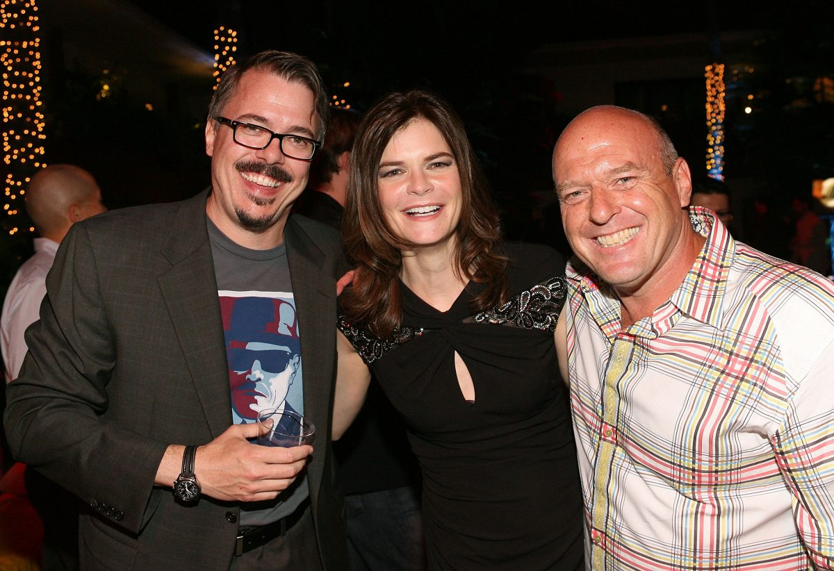 Vince Gilligan with arm around Dean Norris and Betsy Brandt