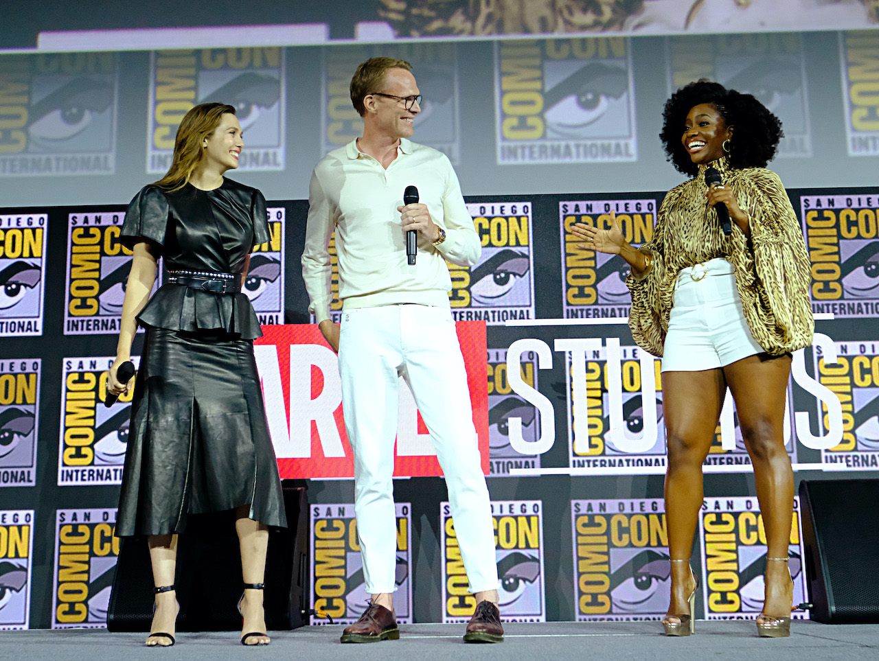 Elizabeth Olsen, Paul Bettany and Teyonah Parris of Marvel Studios' 'WandaVision' at the San Diego Comic-Con