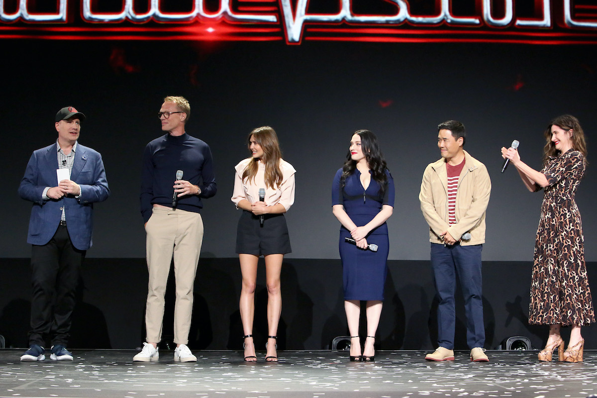 Marvel Studios' Kevin Feige and 'WandaVision' stars Paul Bettany, Elizabeth Olsen, Kat Dennings, Randall Park, and Kathryn Hahn at the D23 EXPO 2019