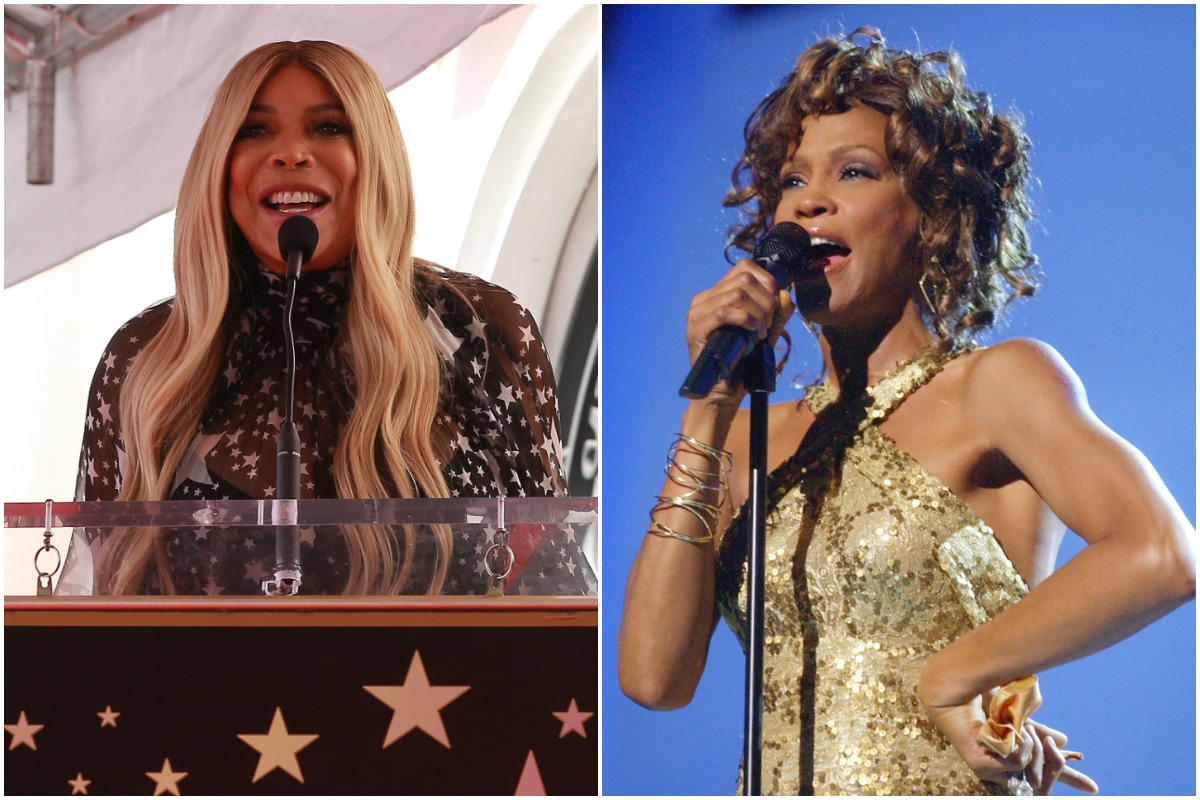 Wendy Williams smiling at the Hollywood Walk of Fame/Whitney Houston performing at VH1 Divas Duets