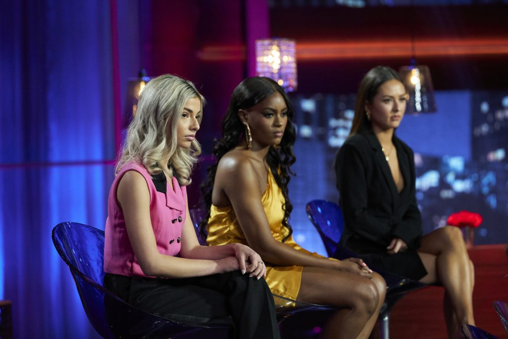 Three of the women from Matt James' season of 'The Bachelor' sitting on 'The Bachelor: Women Tell All' premiering on March 1 at 8 p.m. EST