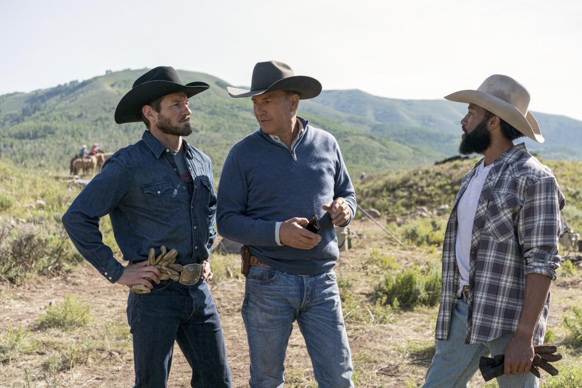 Yellowstone stars Ian Bohen, Kevin Costner and Denim Richards in June 2020