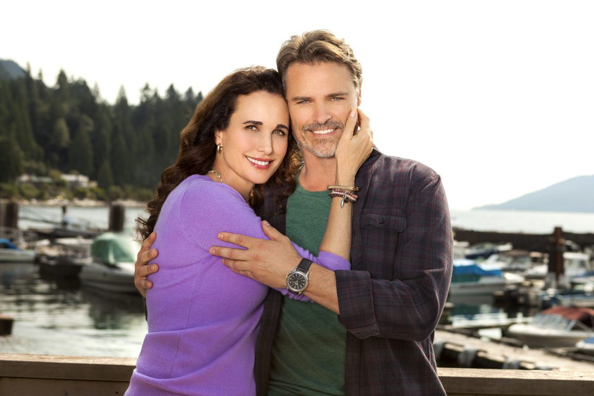 Andie MacDowell with arms around Dylan Neal in Cedar Cove
