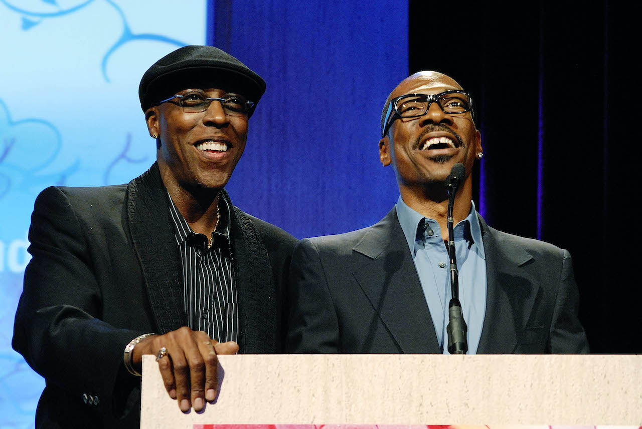 "Arsenio Hall and Eddie Murphy on stage at the JDRF's Annual ""Finding A Cure: A Love Story"" Gala"