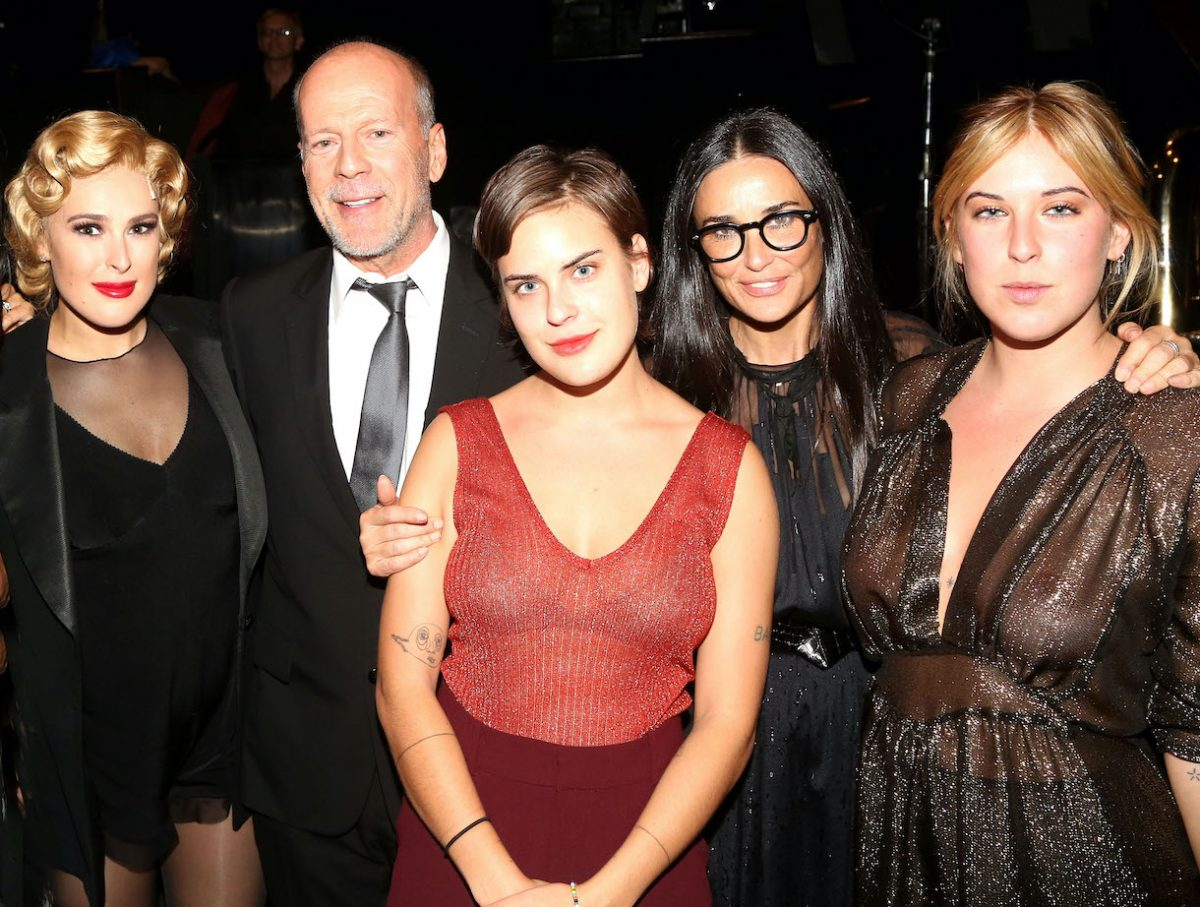 "Rumer Willis, father Bruce Willis, sister Tallulah Belle Willis, mother Demi Moore and sister Scout LaRue Willis pose backstage as Rumer makes her broadway debut as ""Roxie Hart"" in Broadway's ""Chicago"" on Broadway at The Ambassador Theater on September 21, 2015 in New York City"