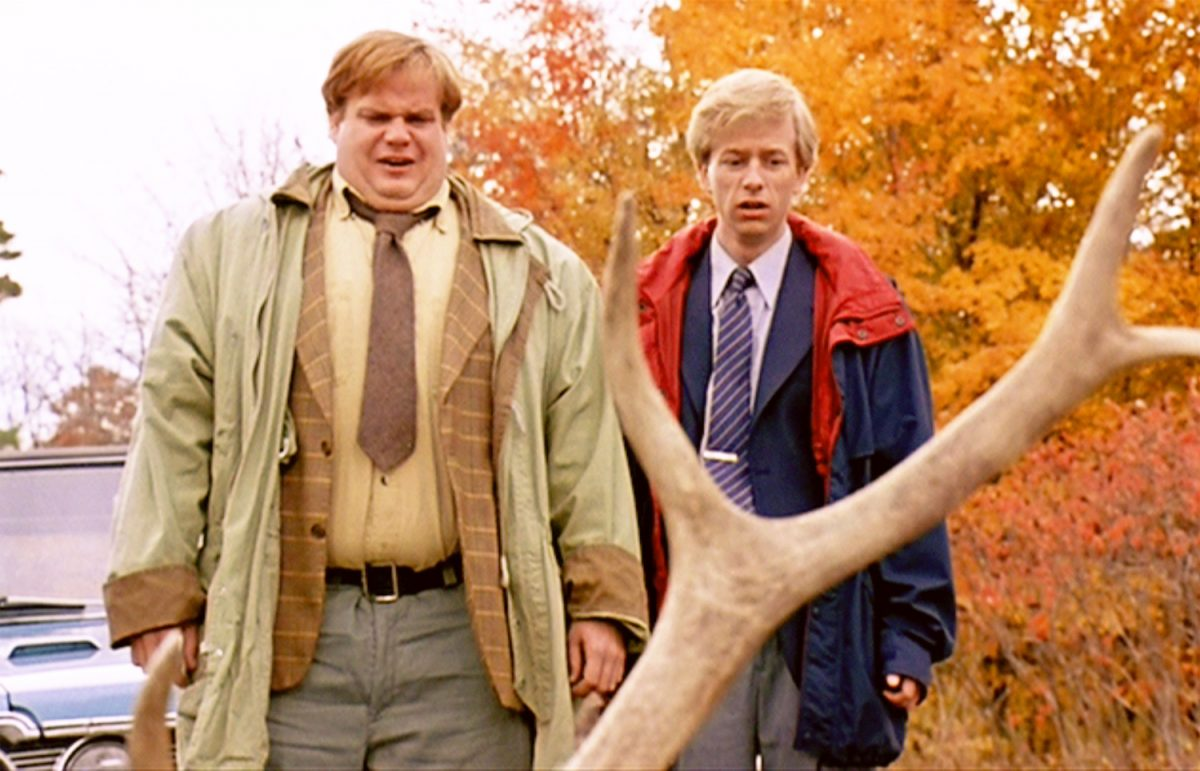 Chris Farley and David Spade in a scene from 'Tommy Boy'