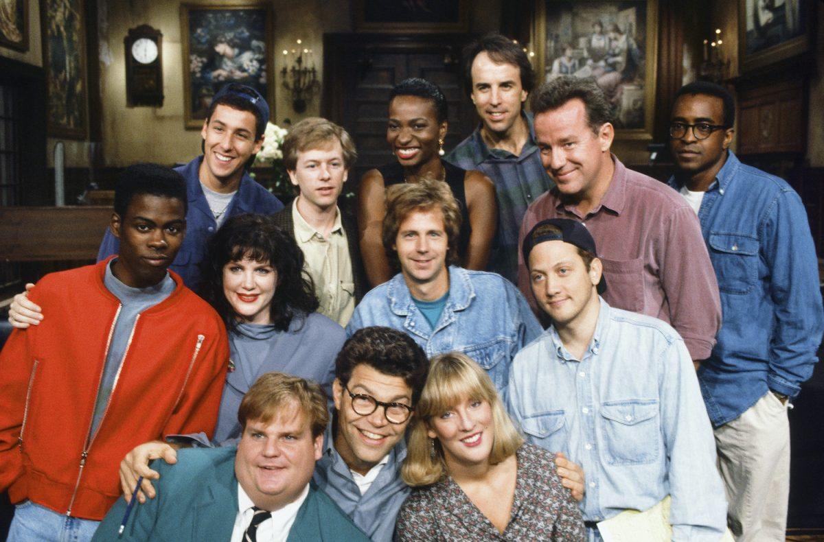 Chris Farley with the 'SNL' cast in season 18