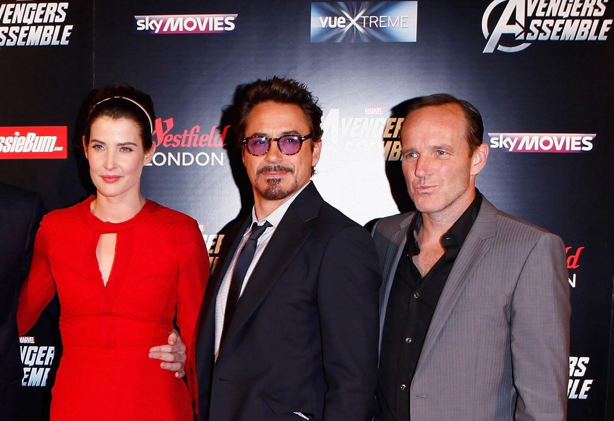 (L-R): Cobie Smulders, Robert Downey Jr., and Clark Gregg on April 19, 2012, in London, England.