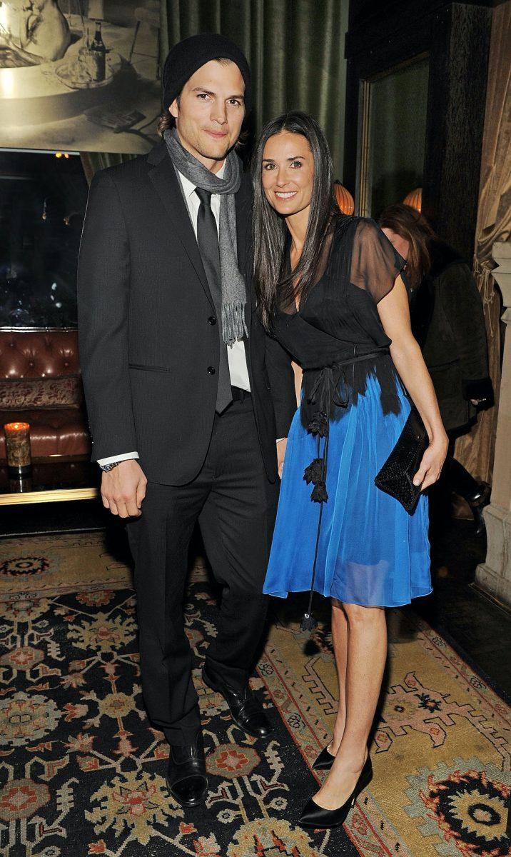 Ashton Kutcher (L) and Demi Moore attend the after party for the Cinema Society with DKNY Jeans & DeLeon Tequila screening of 'No Strings Attached' at the Soho Grand Hotel in 2011