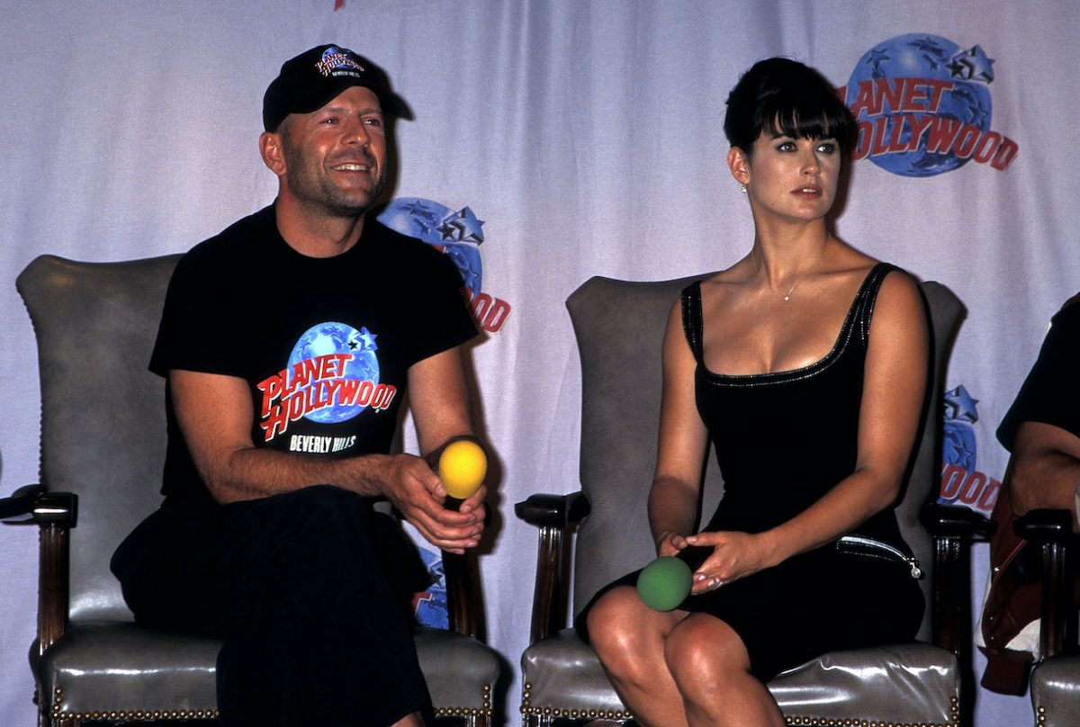 Bruce Willis and actress Demi Moore attend the Planet Hollywood Grand Opening Celebration on September 17, 1995