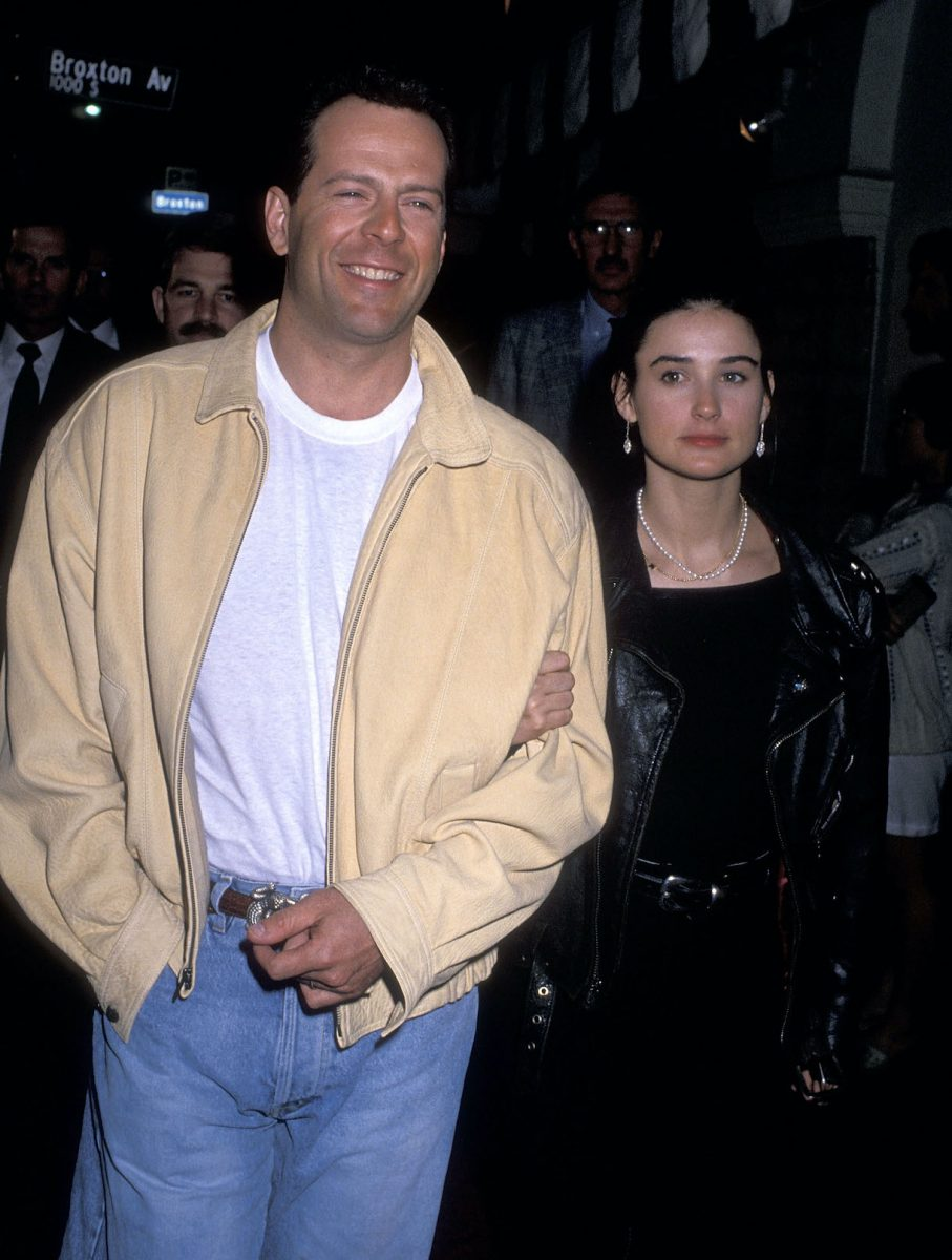 "Actor Bruce Willis and actress Demi Moore attend the ""Chances Are"" Westwood Premiere on March 8, 1989"
