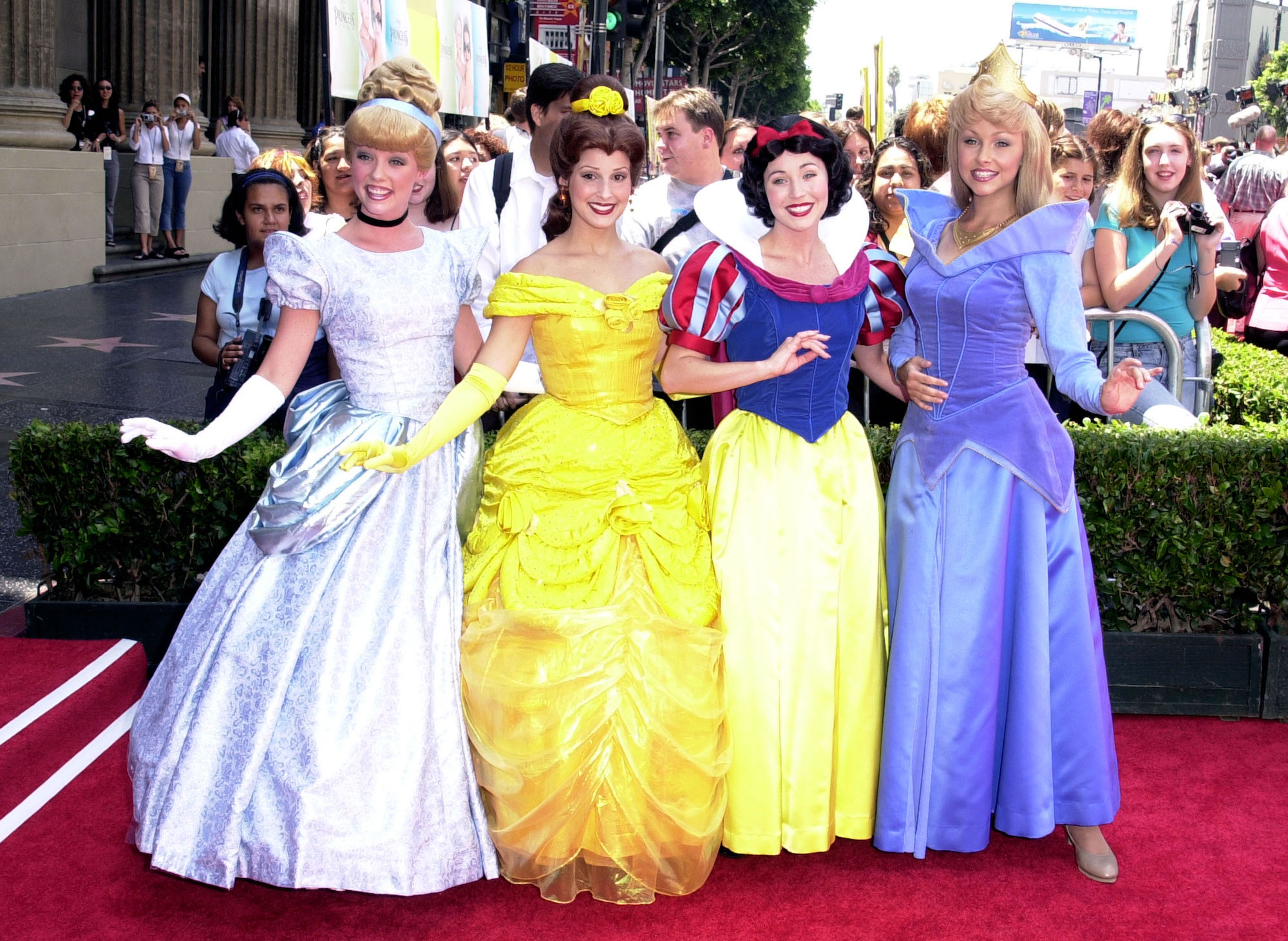 Disney princesses at 'The Princess Diaries' Premiere at El Capitan Theatre on July 29, 2001