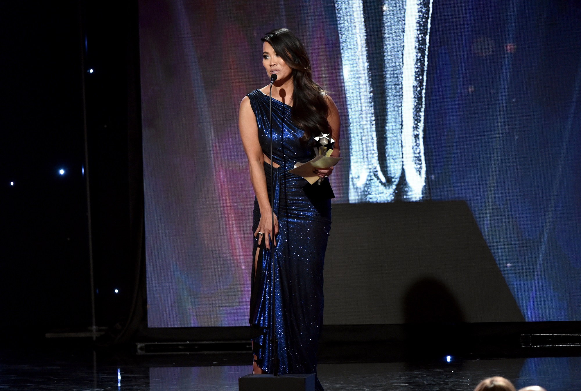 Dr. Sandra Lee aka Dr. Pimple Popper accepts Female Star of the Year award onstage during the Critics' Choice Real TV Awards at The Beverly Hilton Hotel