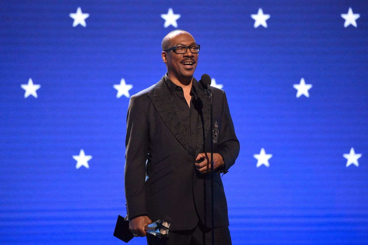 Eddie Murphy accepts the Lifetime Achievement Award onstage at the 25th Annual Critics' Choice Awards at Barker Hangar