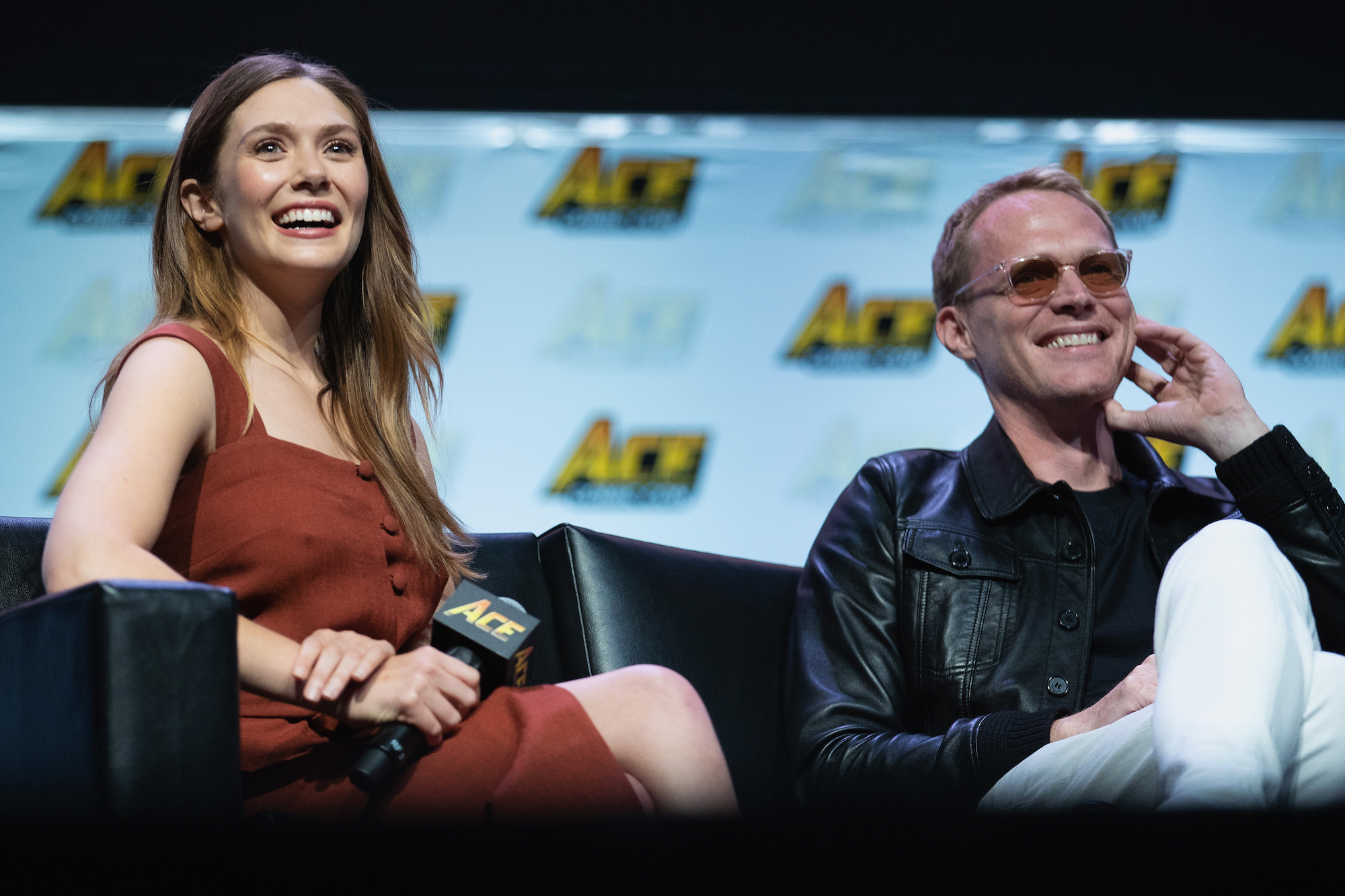 Elizabeth Olsen and Paul Bettany on stage at ACE Comic Con on June 23, 2018