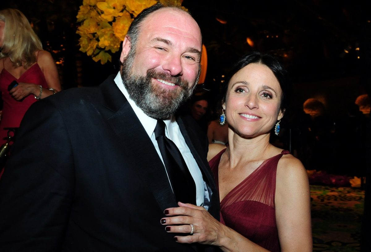 James Gandolfini and Julia Louis-Dreyfus smile for the camera at a 2012 Emmy after-party