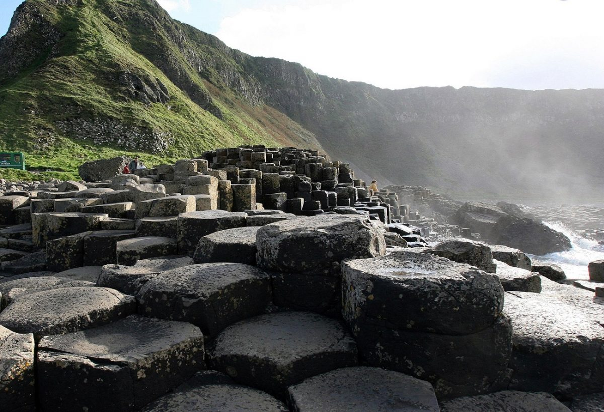 View of rocks and moss-covered mountain landscape of Giant's Causeway in Ireland
