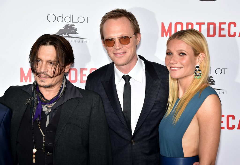 "Johnny Depp, Paul Bettany and Gwyneth Paltrow attend the premiere of Lionsgate's ""Mortdecai"" in 2015"