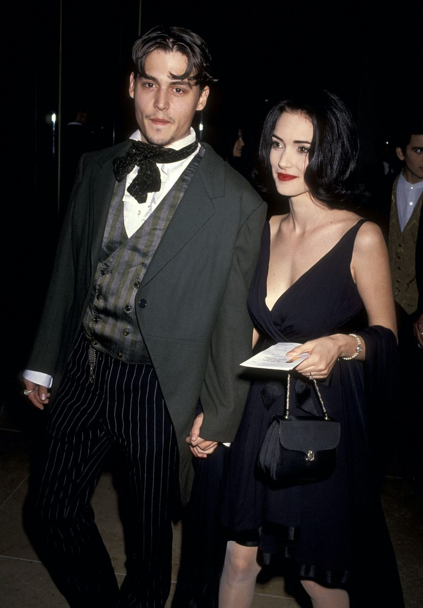 Actor Johnny Depp and actress Winona Ryder attend the 48th Annual Golden Globe Awards on January 19, 1991