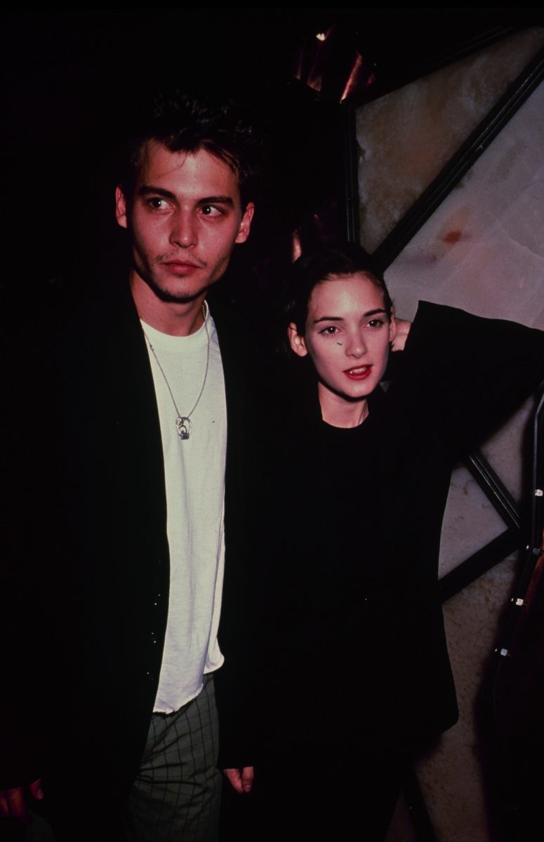 American actress Winona Ryder with her boyfriend, actor Johnny Depp, circa 1990