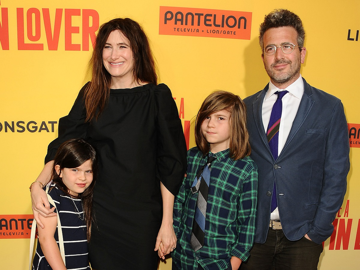 Kathryn Hahn's kids with her and her husband, Ethan Sandler, in 2017.