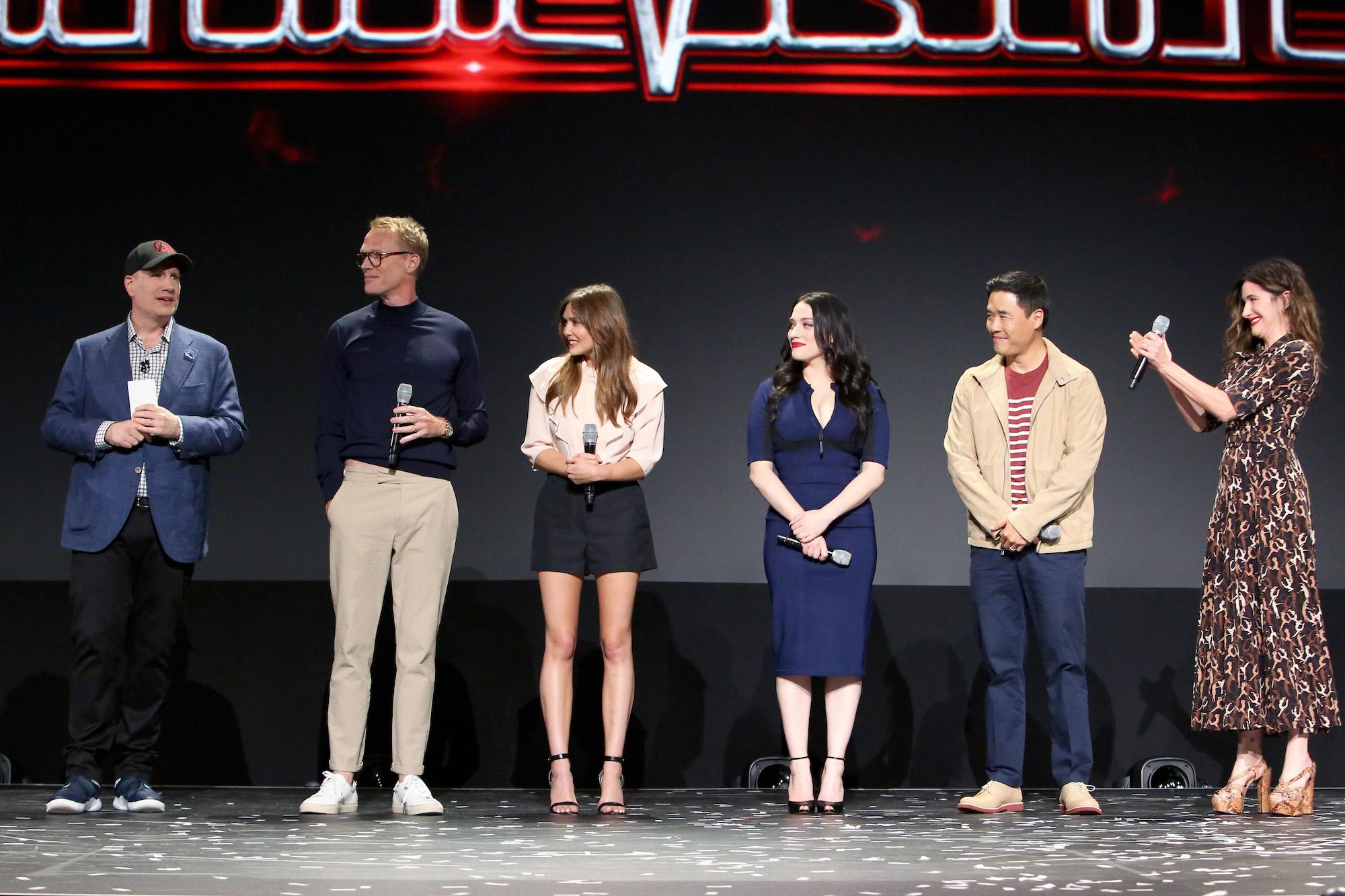 President of Marvel Studios Kevin Feige, Paul Bettany, Elizabeth Olsen, Kat Dennings, Randall Park, and Kathryn Hahn of 'WandaVision' at Disney's D23 EXPO 2019