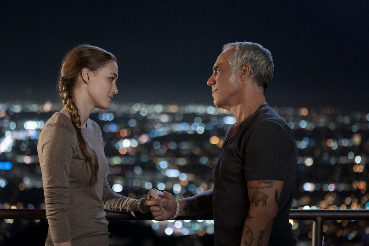 Madison Lintz and Titus Welliver looking at each other in an episode of Bosch