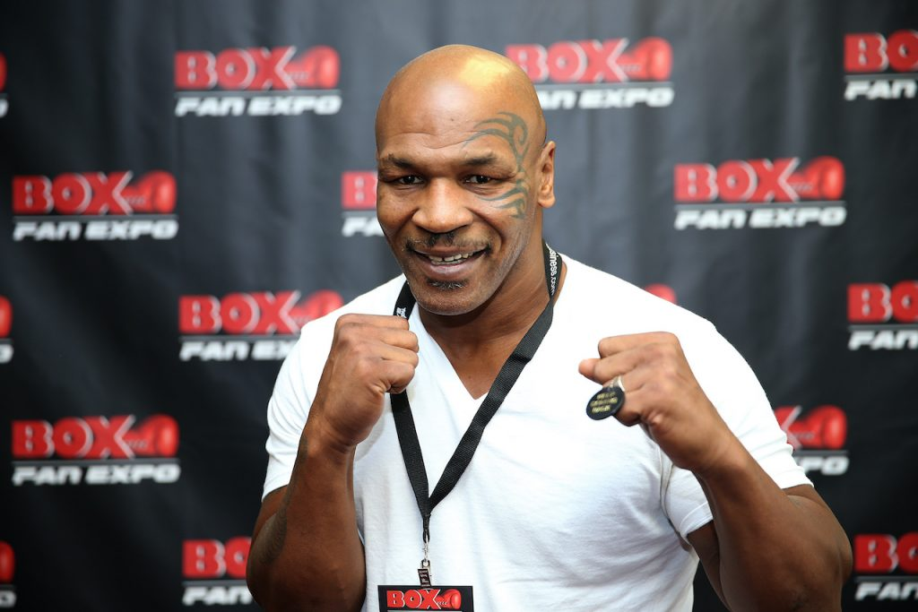 Mike Tyson poses on the red carpet during the Box Fan Expo