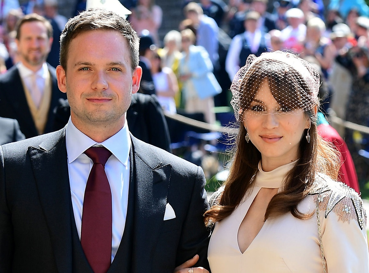 Patrick J. Adams and wife Troian Bellisario at the 2018 royal wedding