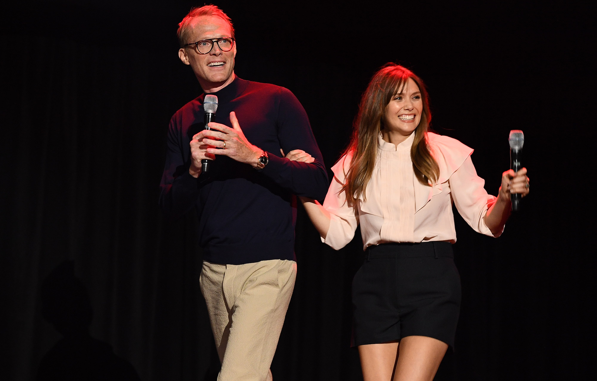 Paul Bettany and Elizabeth Olsen at the D23 EXPO 2019